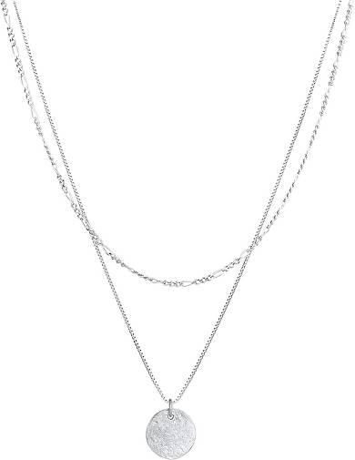 Elli Halskette Layer Plättchen Figaro Boho 2-lagig 925 Silber