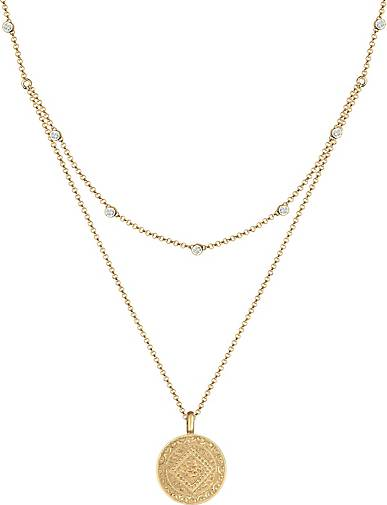 Elli Halskette Münze Plättchen Kristalle 925 Silber