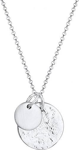Elli Halskette Plättchen Münzen Geo-Organic Look 925 Silber