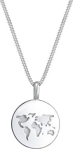 Elli Halskette Weltkugel Plättchen Anhänger Reisen 925 Silber