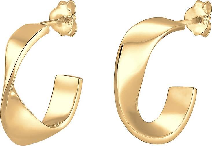 Elli Ohrringe Creolen Hänger Basic Geo Gedreht Twist 925 Silber