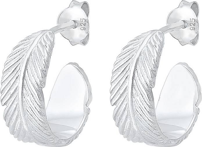 Elli Ohrringe Creolen Hänger Feder Festival Trend 925er Silber