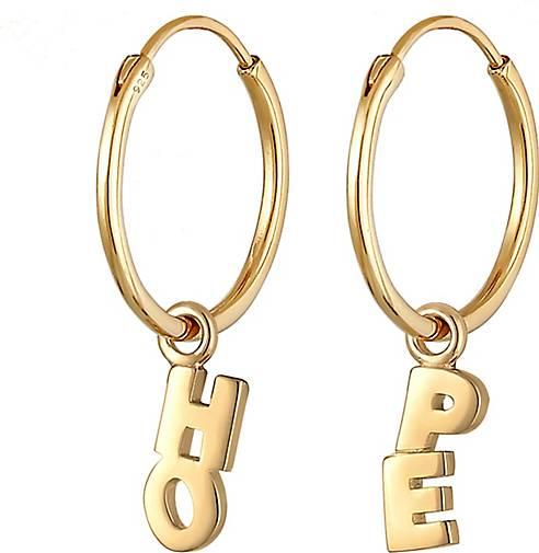Elli Ohrringe Creolen Hänger Hope Wording Blogger 925 Silber