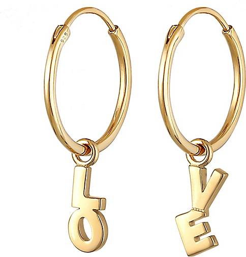 Elli Ohrringe Creolen Hänger Love Wording Blogger 925 Silber