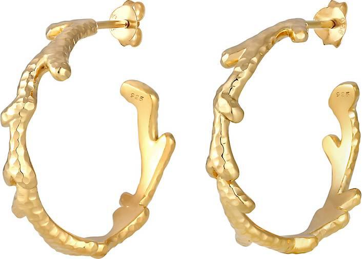 Elli Ohrringe Creolen Korallen Tropisch 925 Sterling Silber