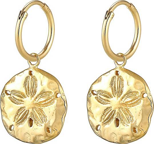 Elli Ohrringe Creolen Münz-Anhänger Blume Sommer 925 Silber