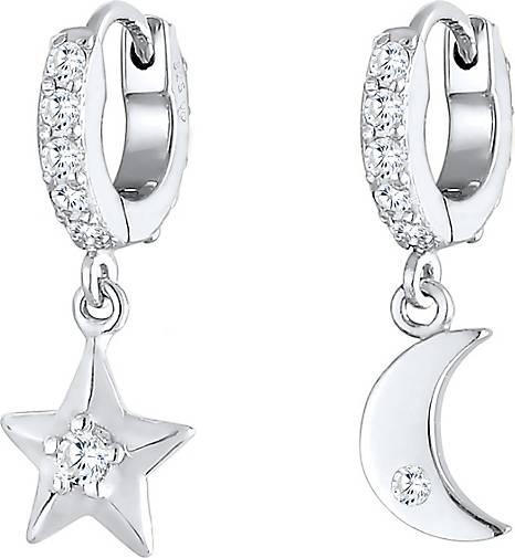Elli Ohrringe Creolen Ohrhänger Stern Mond 925 Silber