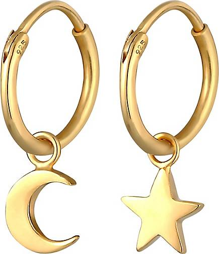 Elli Ohrringe Creolen Ohrhänger Stern Mond Astro Look 925 Silber