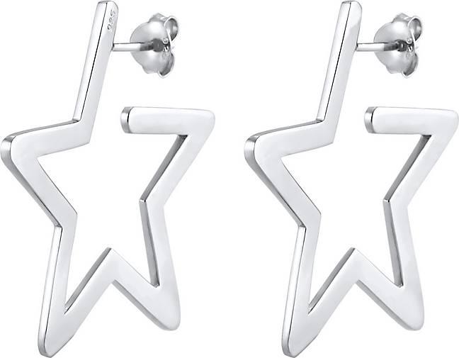 Elli Ohrringe Creolen Stern Astro Verspielt Filigran 925 Silber