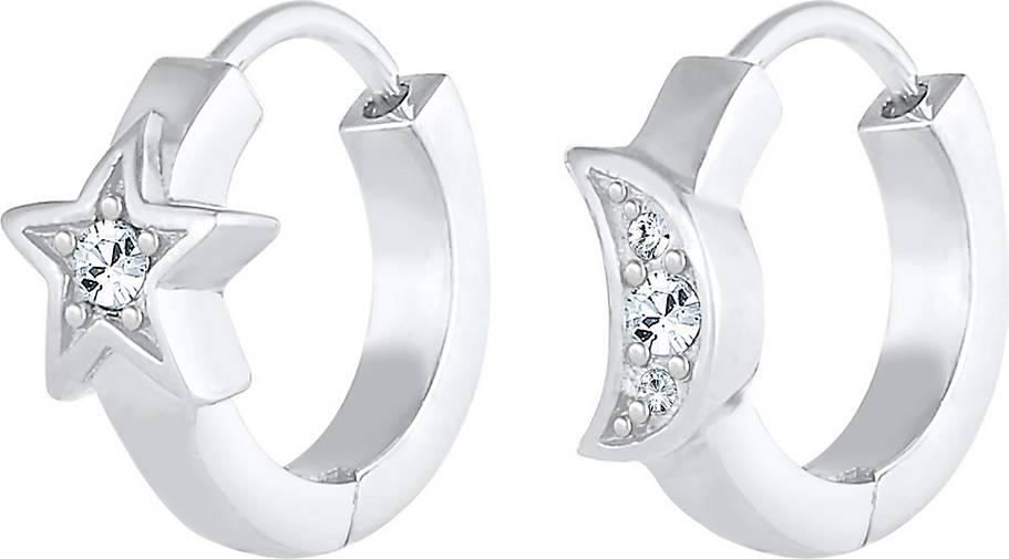 Elli Ohrringe Creolen Sterne Mond Swarovski® Kristalle Silber