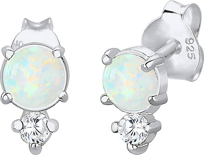 Elli Ohrringe Geo Kreis Zirkonia Opal Trend 925 Sterling Silber