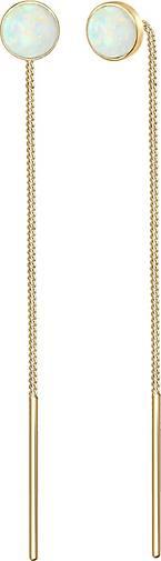 Elli Ohrringe Hänger Opal Trend Durchziehen Minimal 925 Silber