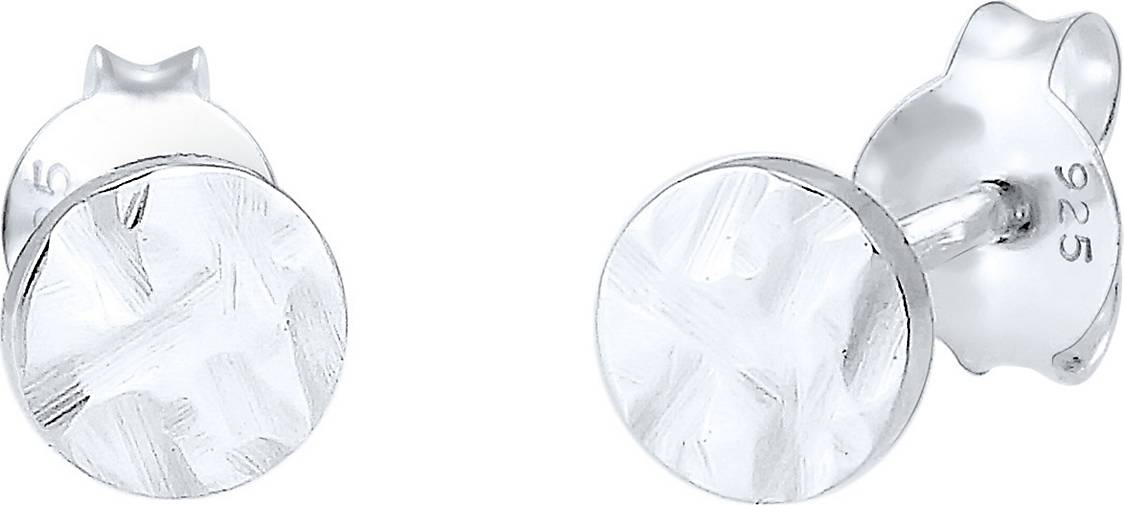 Elli Ohrringe Kreis Gehämmert Geo Trend Organic-Look 925 Silber