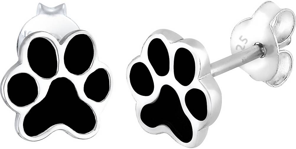 Elli Ohrringe Pfoten Tier Emaille Hund Katze Filigran 925 Silber