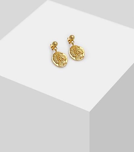 925 Sterlingsilber Damen Ohrstecker Ohrringe Münze Coin Rund Kreis Silber Gold