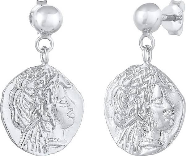 Elli Ohrringe Stecker Coin Münze Antikes Design 925 Silber