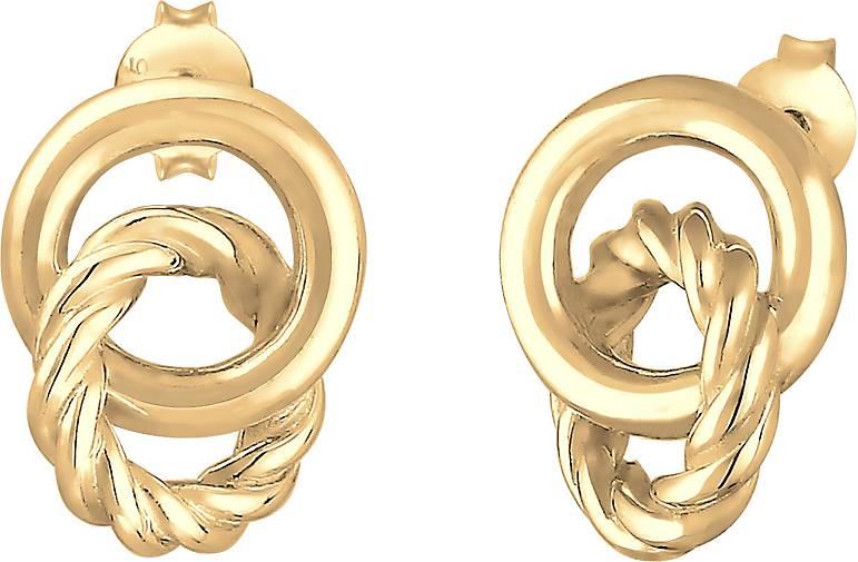 Elli Ohrringe Stecker Knoten Kreis Gedreht 80s Look 925 Silber