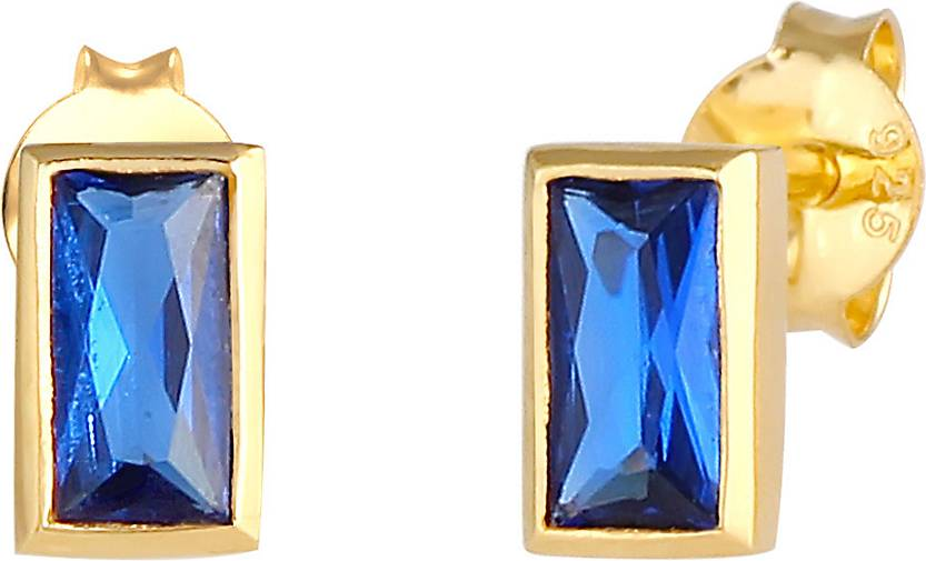 Elli Ohrringe Stecker Synthetischer Saphir 925 Silber vergoldet