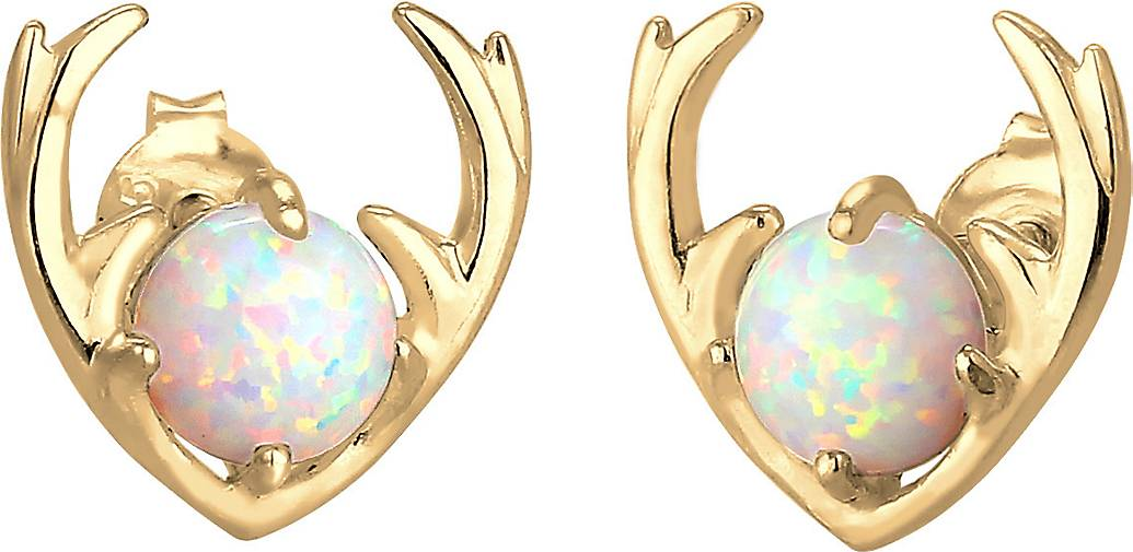 Elli Ohrringe Synthetischer Opal Rentier Geweih 925 Silber