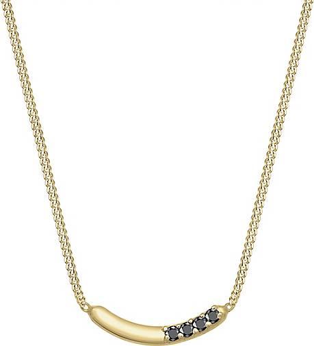 Elli PREMIUM Halskette Bogen Geo Schwarzer Diamant (0.06ct.) 375 Gelbgold