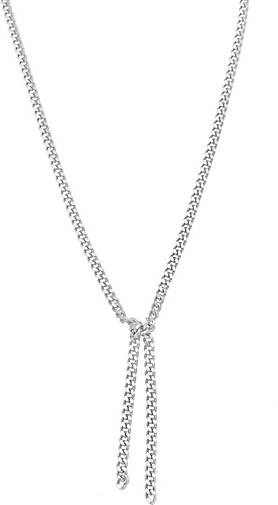 Elli PREMIUM Halskette Breite Y-Kette Panzer Knoten Basic Look 925 Silber