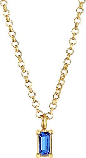 Elli PREMIUM Halskette Choker Solitär Swarovski® Kristall Blau 925 Silber