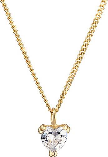 Elli PREMIUM Halskette Elegant Herz-Form Zirkonia Kristall 375 Gelbgold