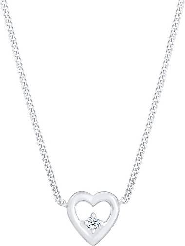 Elli PREMIUM Halskette Herz Liebe Love Diamant (0.03 ct.) 925 Silber