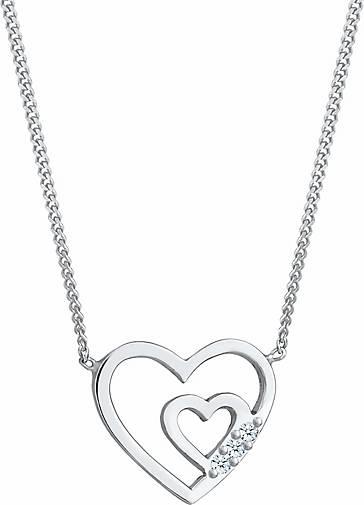 Elli PREMIUM Halskette Herzen Offen Liebe Diamant (0.045 ct.) 925 Silber