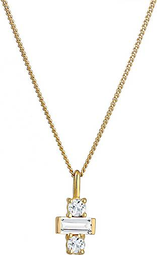 Elli PREMIUM Halskette Kreuz Topas Edelstein Trend 925 Sterling Silber