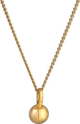 Elli PREMIUM Halskette Kugel Anhänger Rund Panzerkette 585 Gelbgold