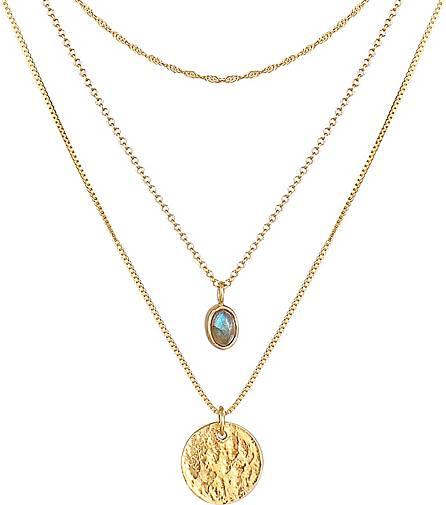 Elli PREMIUM Halskette Layer Labradorit Plättchen Anhänger 925 Silber