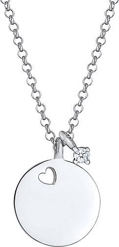 Elli PREMIUM Halskette Plättchen Herz Diamant Solitär (0.03ct) 925 Silber
