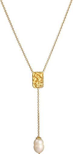 Elli PREMIUM Halskette Y-Kette Barock Perle Organic Zeitlos 925 Silber