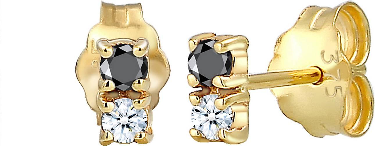 Elli PREMIUM Ohrringe Bi-Color Schwarz Weiß Diamant (0.12 ct) 375er Gold