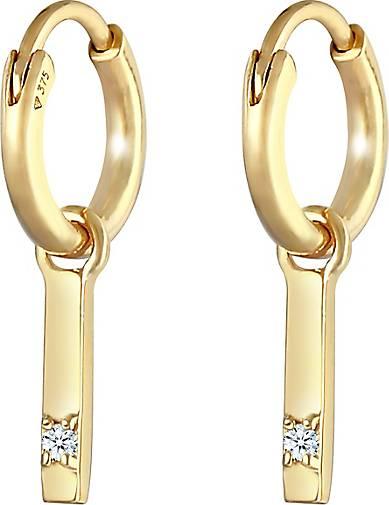 Elli PREMIUM Ohrringe Creolen Hänger Barren Diamant 0,03 ct 375 Gelbgold