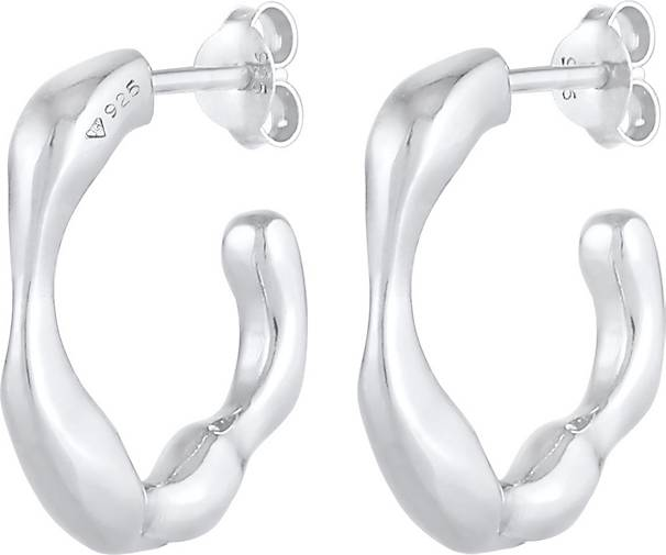 Elli PREMIUM Ohrringe Creolen Ohrhänger Organische Struktur 925 Silber