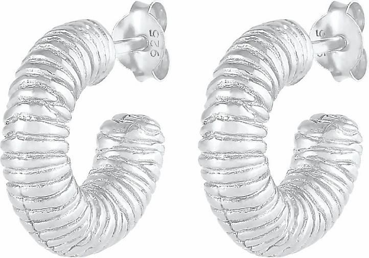 Elli PREMIUM Ohrringe Creolen Stecker Grob Rillen 925 Silber