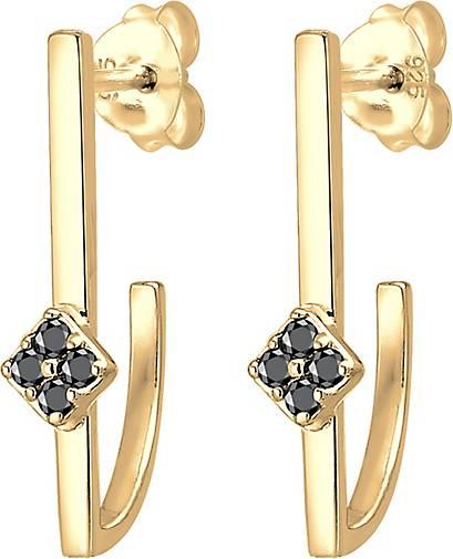 Elli PREMIUM Ohrringe Hänger Geo Schwarzer Diamant (0.12 ct.) 925 Silber