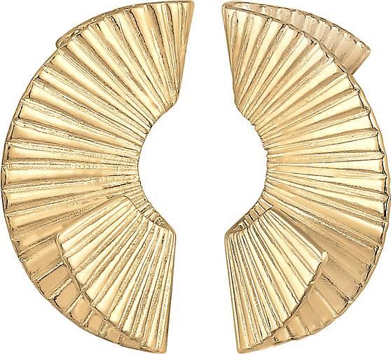Elli PREMIUM Ohrringe Hänger Organische Form Trend 925 Silber vergoldet