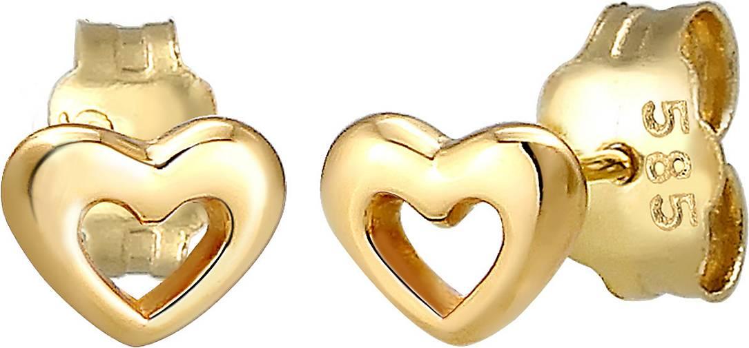 Elli PREMIUM Ohrringe Stecker Herz Liebe Symbol Fein 585er Gelbgold