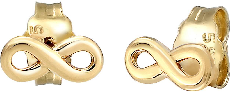 Elli PREMIUM Ohrringe Stecker Infinity Symbol Unendlichkeit 585 Gelbgold