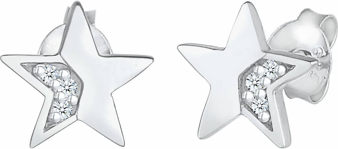 Elli PREMIUM Ohrringe Stern Star Diamanten (0.03 ct) Stecker 925 Silber