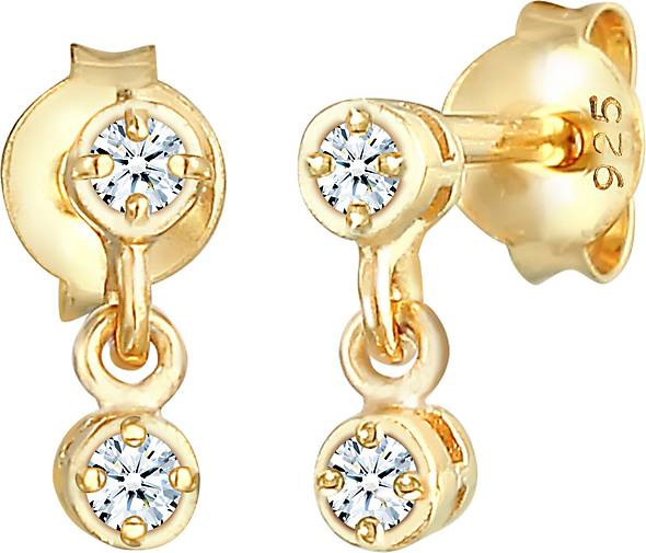 Elli PREMIUM Ohrringe Zarte Ohrhänger Diamant (0.12 ct.) 925 Silber