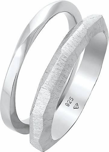 Elli PREMIUM Ring Bandring Basic Gedreht Struktur 2er Set 925 Silber
