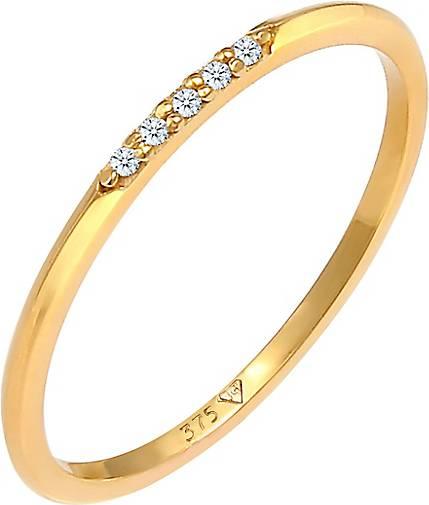 Elli PREMIUM Ring Bandring Diamanten Elegant Fein (0.025 ct)375 Gold