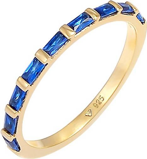 Elli PREMIUM Ring Bandring Verlobung synthetischer Saphir 925 Silber