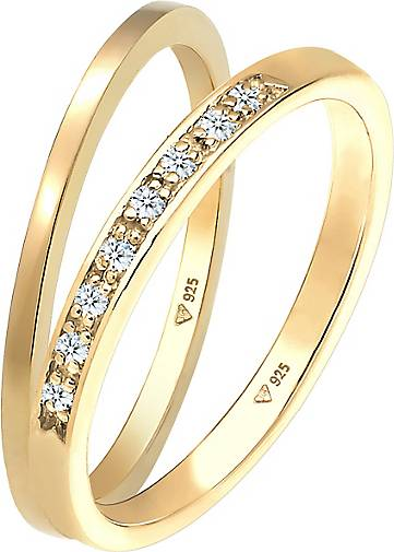 Elli PREMIUM Ring Basic Memoire Diamant (0.04 ct) 2er Set 925 Silber