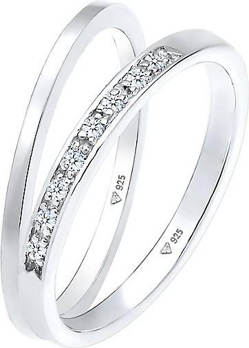 Elli PREMIUM Ring Basic Memoire Diamant (0.04 ct) 2er Set 925 Silber