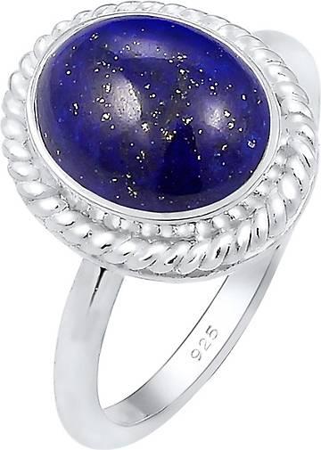 Elli PREMIUM Ring Cocktailring Lapis Lazuli Edelstein 925er Silber